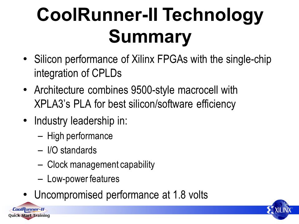 CoolRunner-II Technology Summary