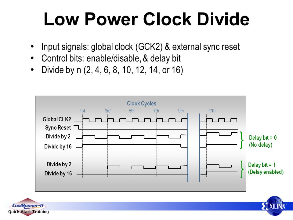 Low Power Clock Divide Input signals: global clock (GCK2) & external sync reset. Control bits: enable/disable, & delay bit.