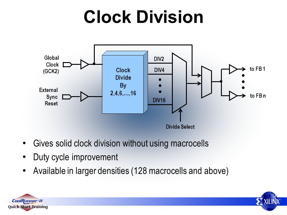 Clock Division Gives solid clock division without using macrocells