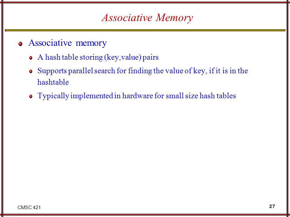 Associative Memory Associative memory