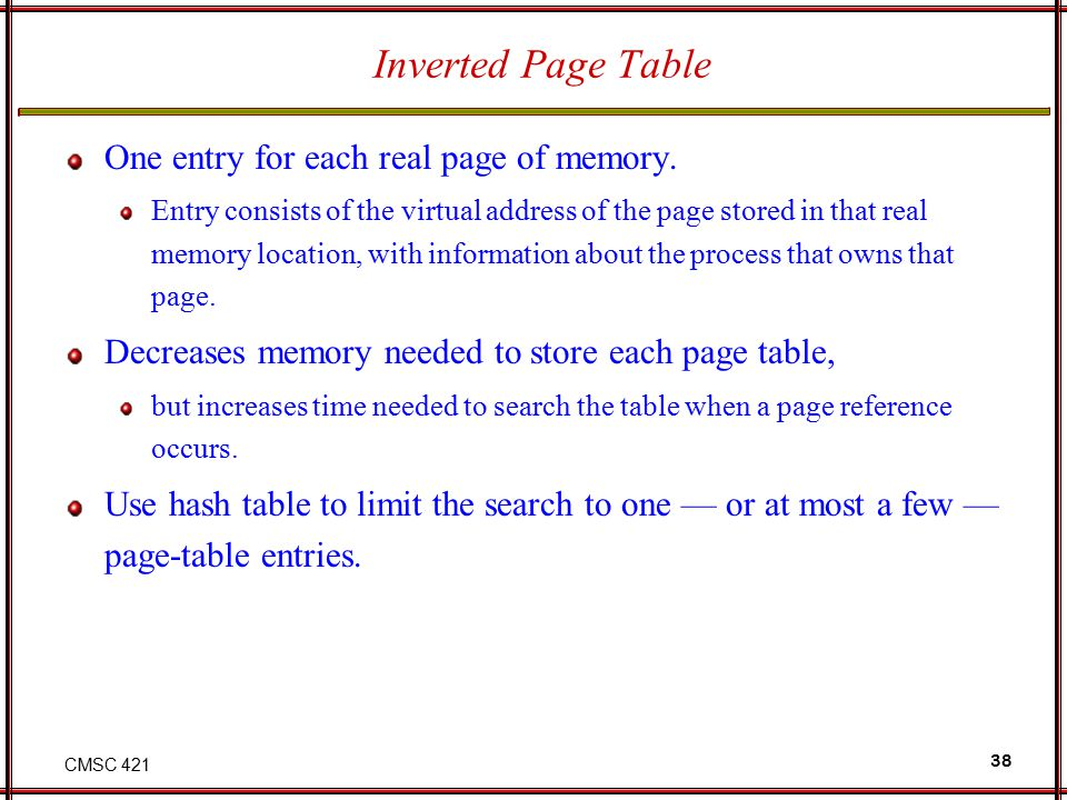 Inverted Page Table One entry for each real page of memory.