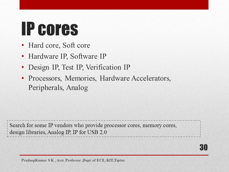 IP cores Hard core, Soft core Hardware IP, Software IP