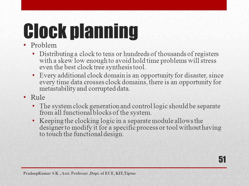 Clock planning Problem Rule