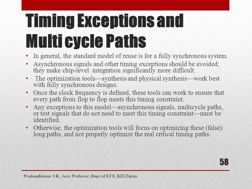 Timing Exceptions and Multi cycle Paths
