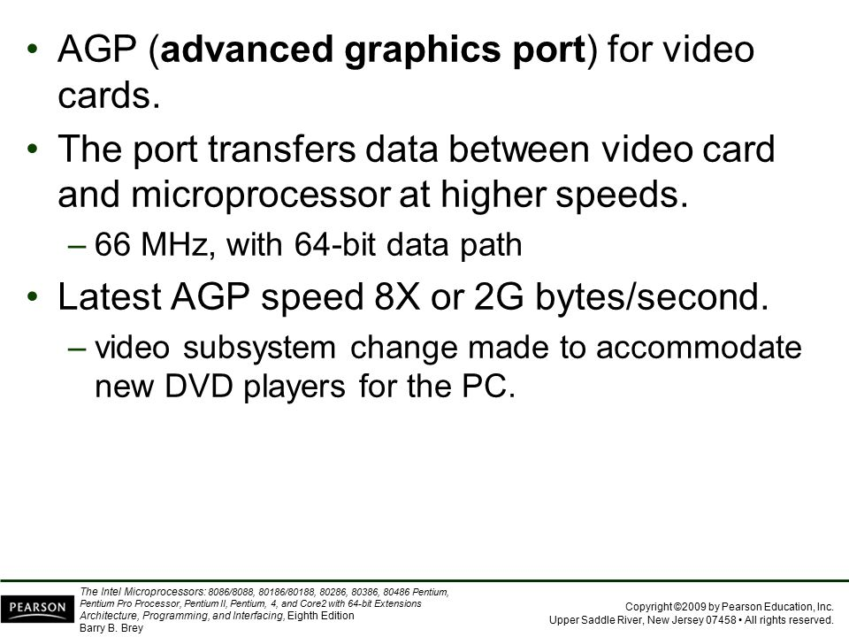 AGP (advanced graphics port) for video cards.
