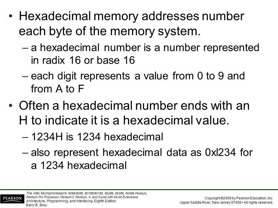 Hexadecimal memory addresses number each byte of the memory system.