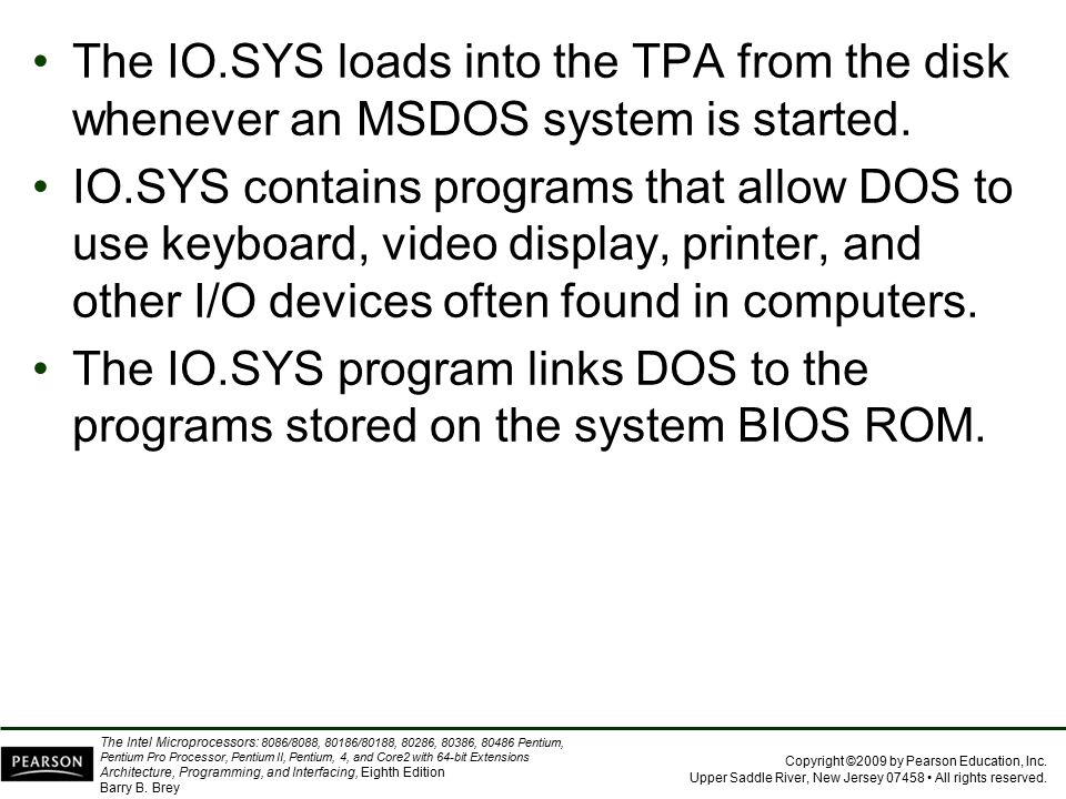 The IO.SYS loads into the TPA from the disk whenever an MSDOS system is started.