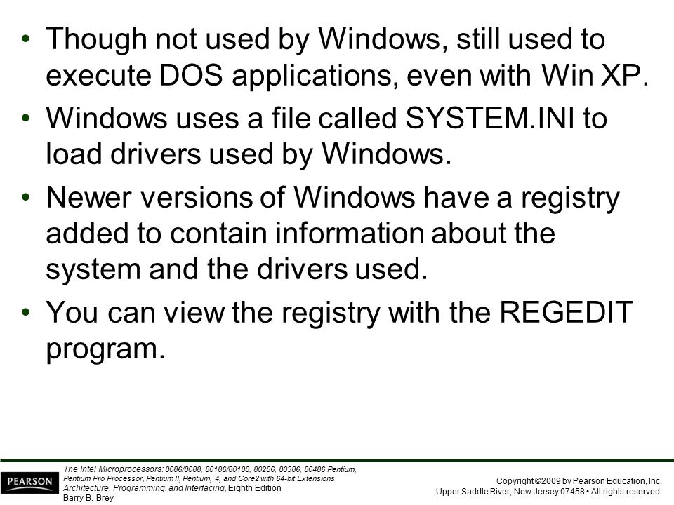 Though not used by Windows, still used to execute DOS applications, even with Win XP.