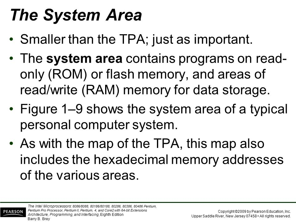 The System Area Smaller than the TPA; just as important.