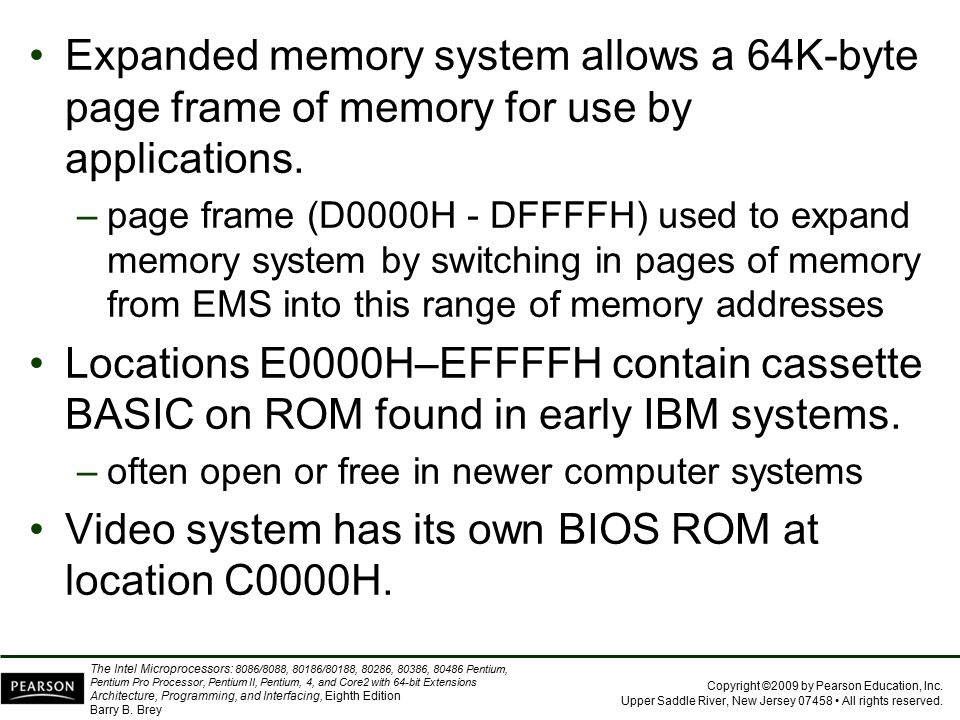 Video system has its own BIOS ROM at location C0000H.