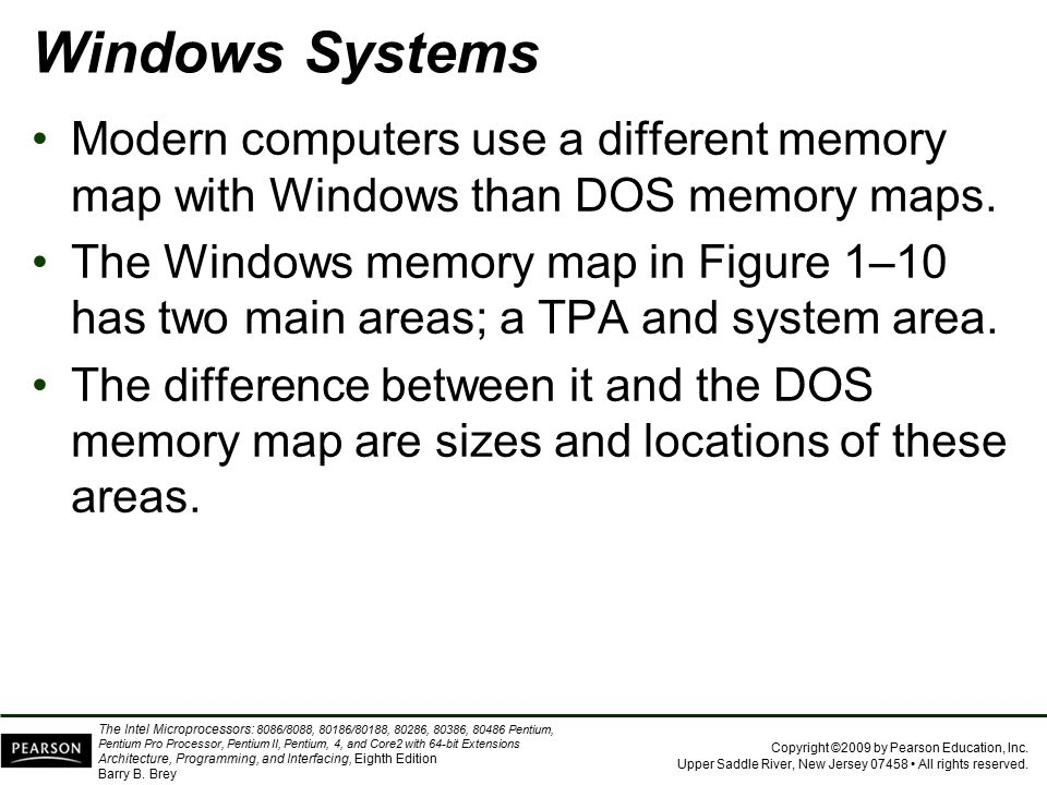 Windows Systems Modern computers use a different memory map with Windows than DOS memory maps.