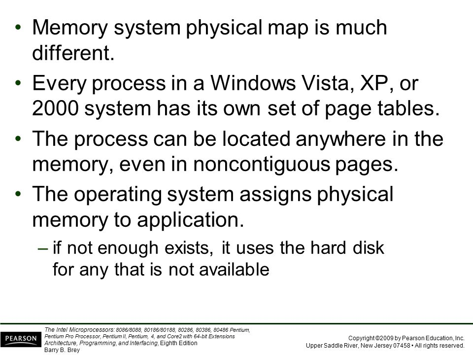 Memory system physical map is much different.