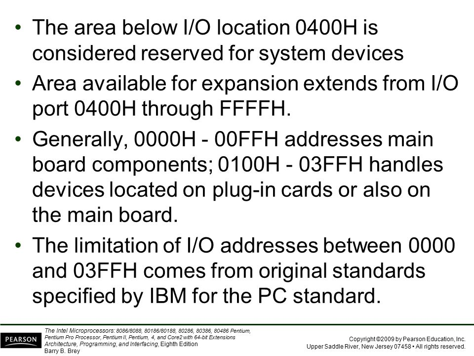The area below I/O location 0400H is considered reserved for system devices