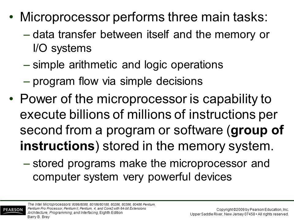 Microprocessor performs three main tasks: