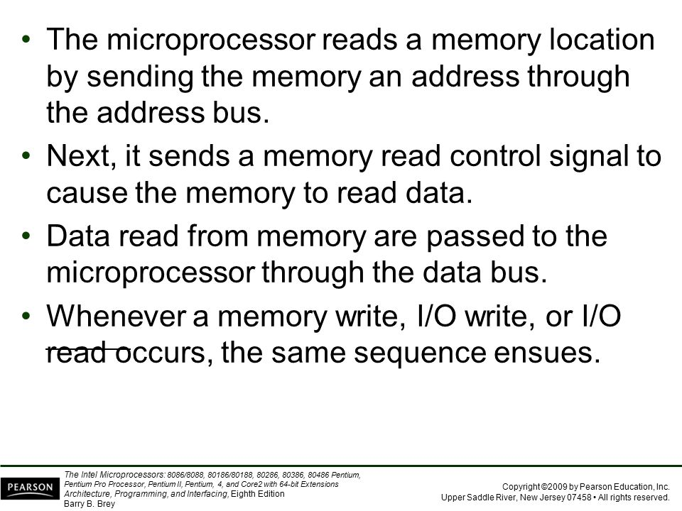 The microprocessor reads a memory location by sending the memory an address through the address bus.