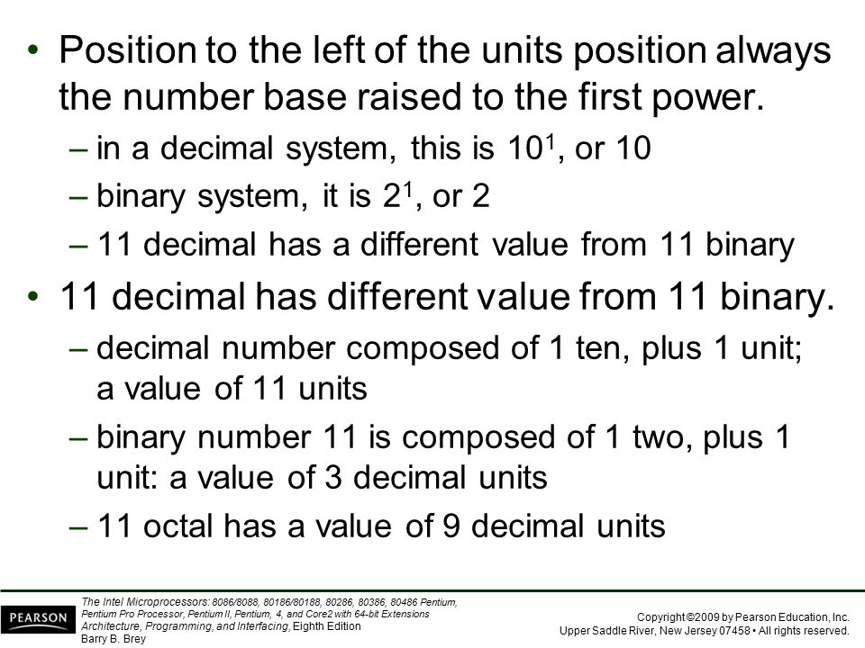 11 decimal has different value from 11 binary.