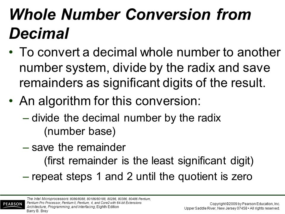 Whole Number Conversion from Decimal