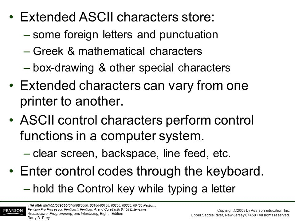 Extended ASCII characters store: