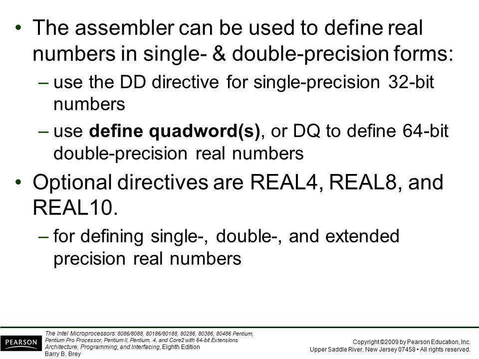 Optional directives are REAL4, REAL8, and REAL10.