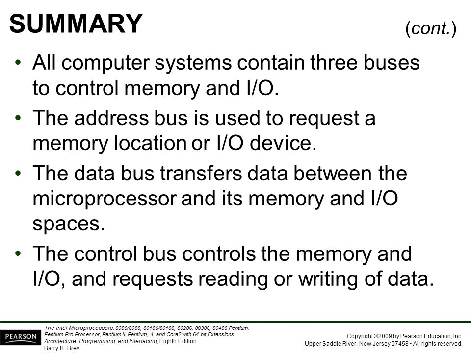 SUMMARY (cont.) All computer systems contain three buses to control memory and I/O.