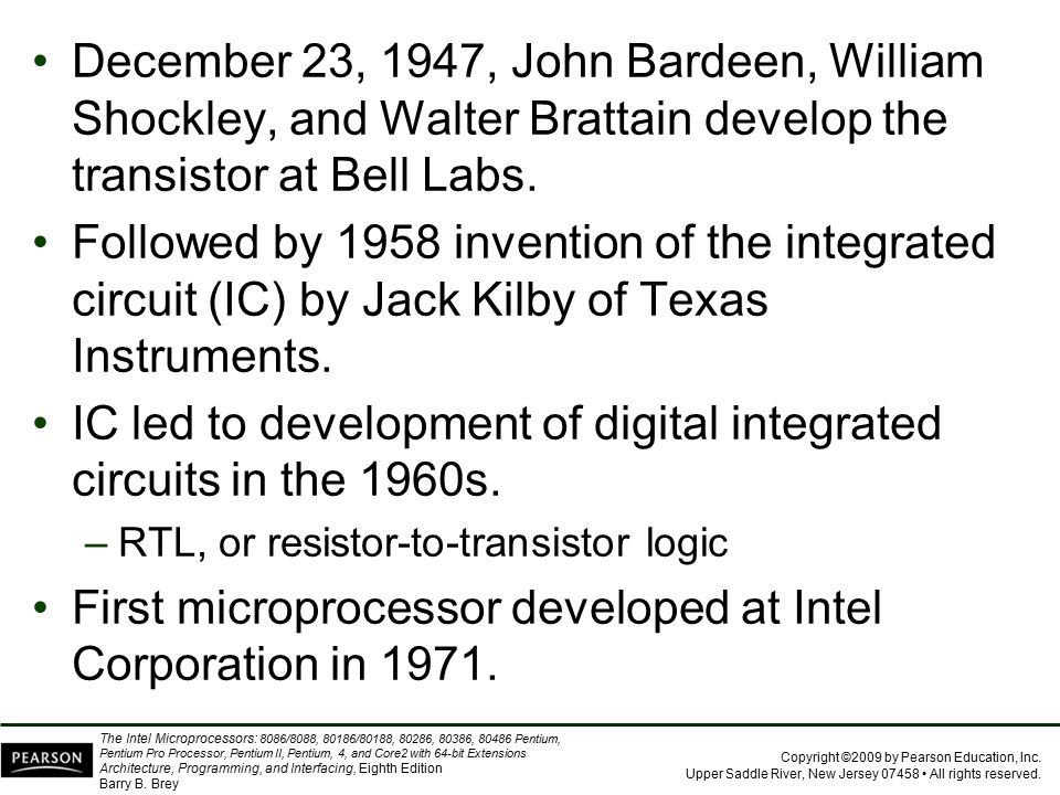 IC led to development of digital integrated circuits in the 1960s.