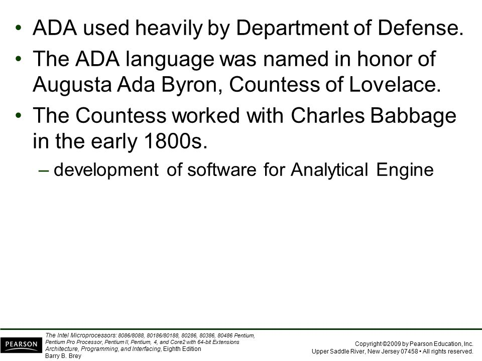 ADA used heavily by Department of Defense.
