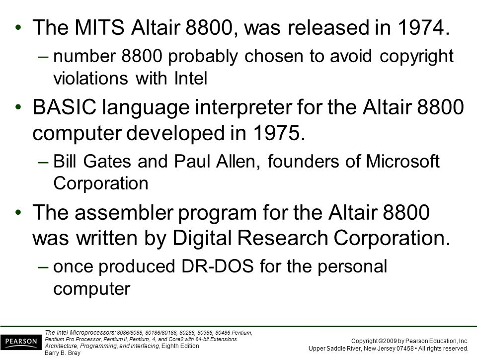 The MITS Altair 8800, was released in 1974.