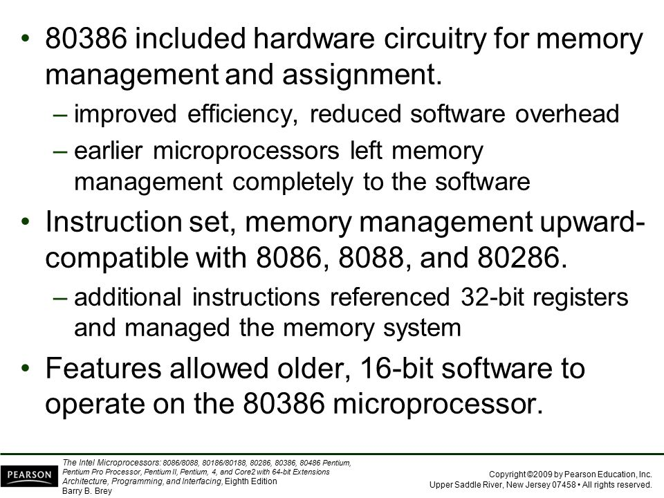 80386 included hardware circuitry for memory management and assignment.