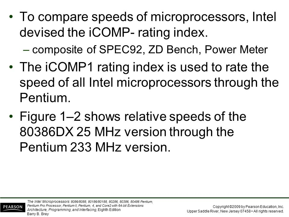 To compare speeds of microprocessors, Intel devised the iCOMP- rating index.