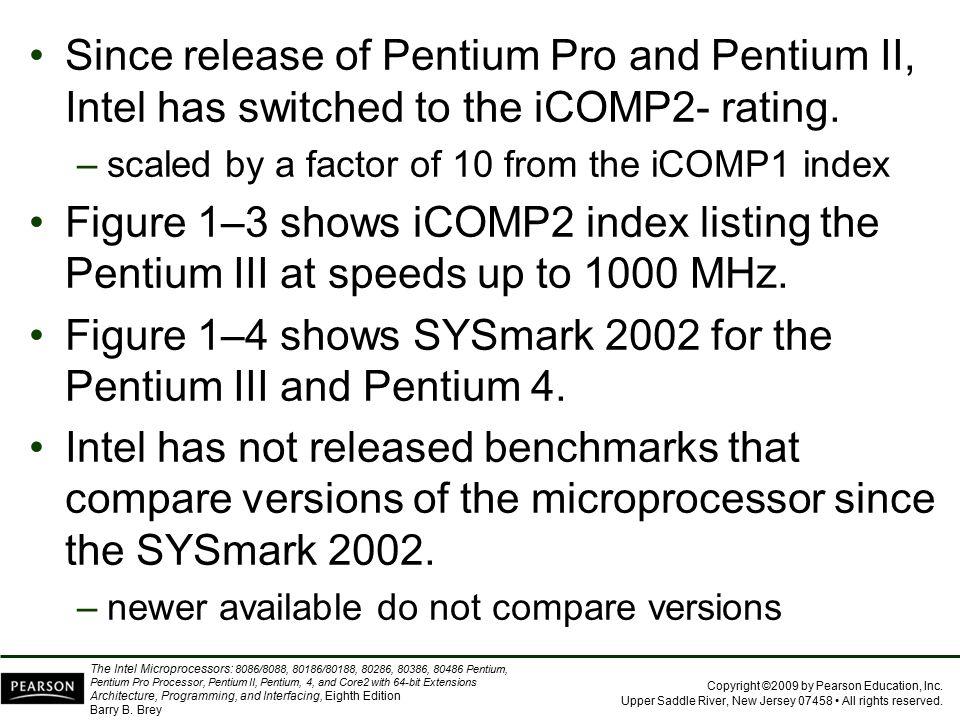 Figure 1–4 shows SYSmark 2002 for the Pentium III and Pentium 4.