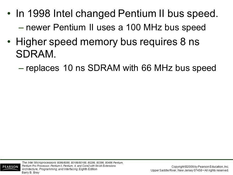 In 1998 Intel changed Pentium II bus speed.