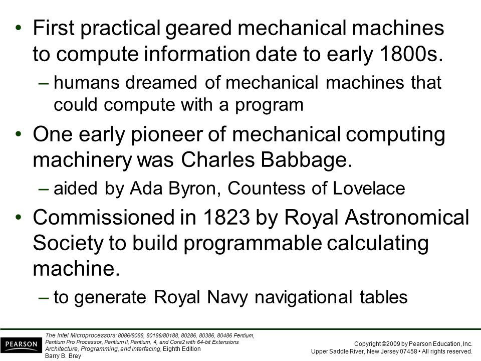 First practical geared mechanical machines to compute information date to early 1800s.