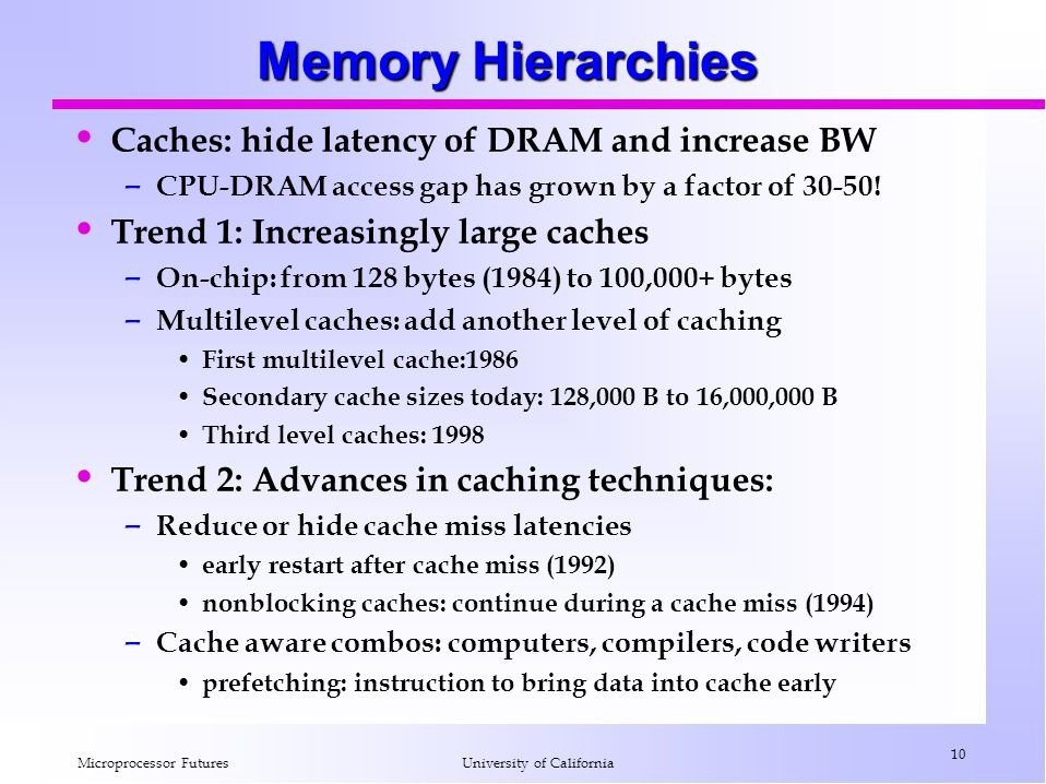 Memory Hierarchies Caches: hide latency of DRAM and increase BW