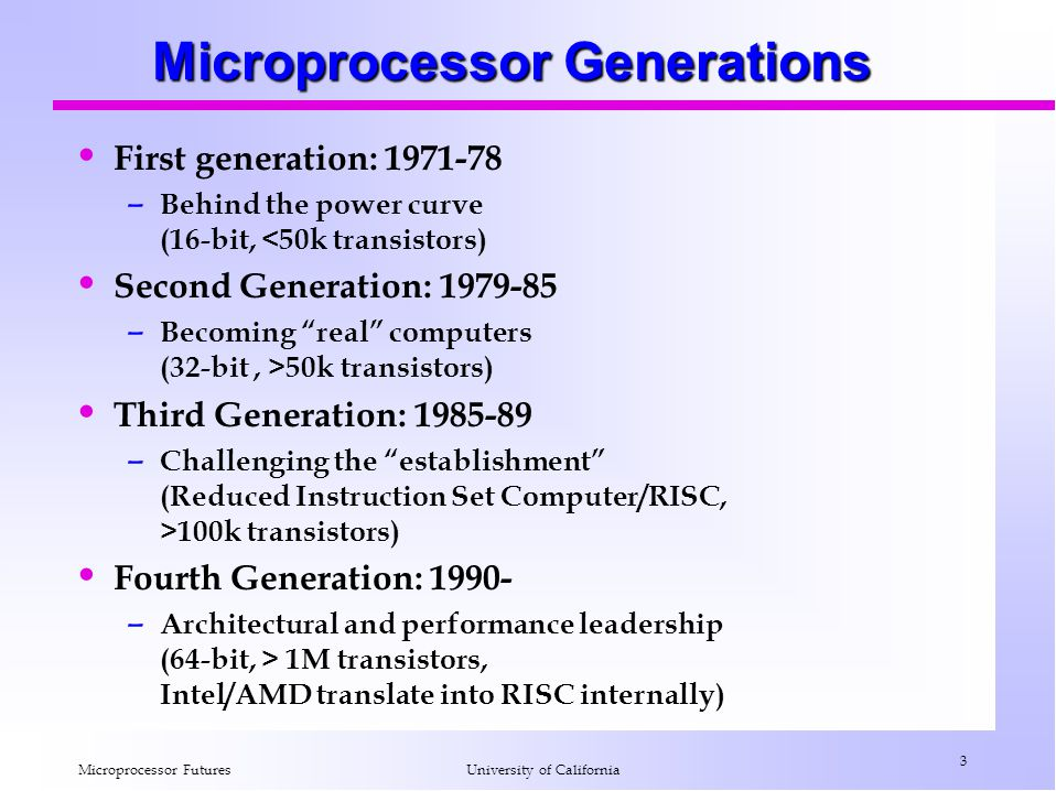 Microprocessor Generations