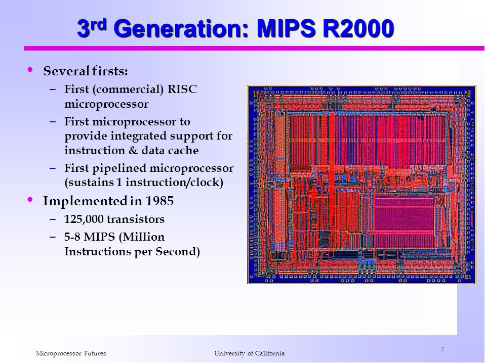 3rd Generation: MIPS R2000 Several firsts: Implemented in 1985