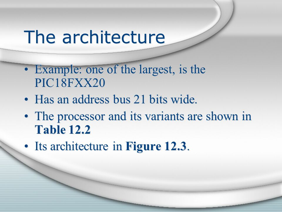 The architecture Example: one of the largest, is the PIC18FXX20