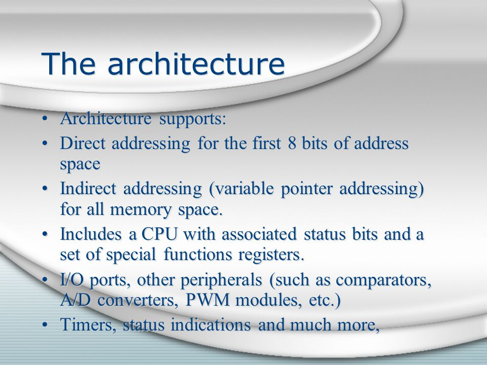 The architecture Architecture supports:
