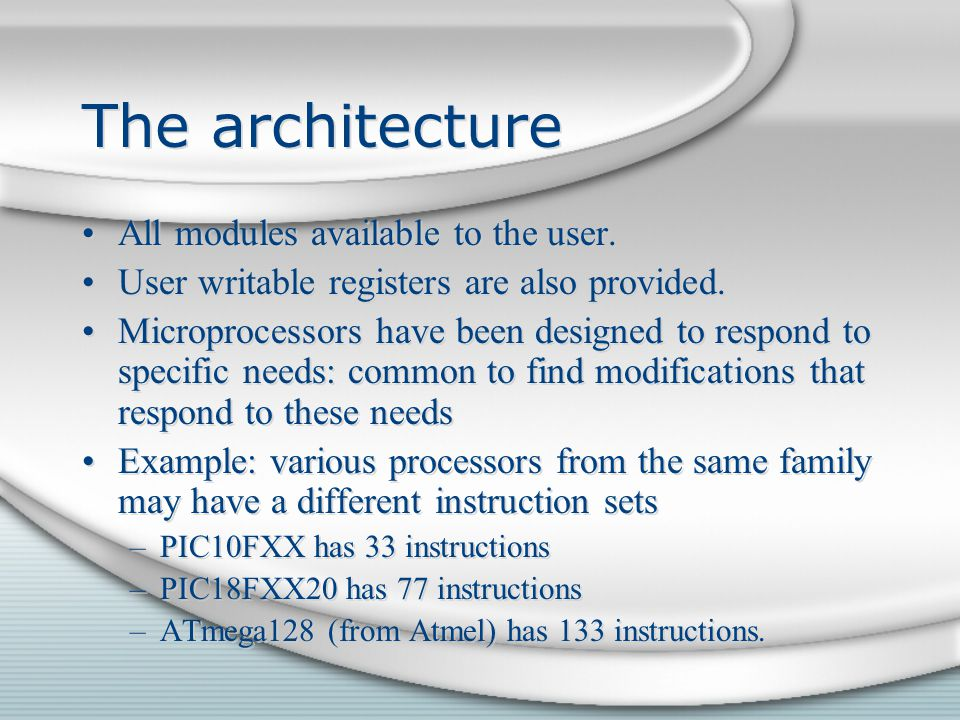 The architecture All modules available to the user.