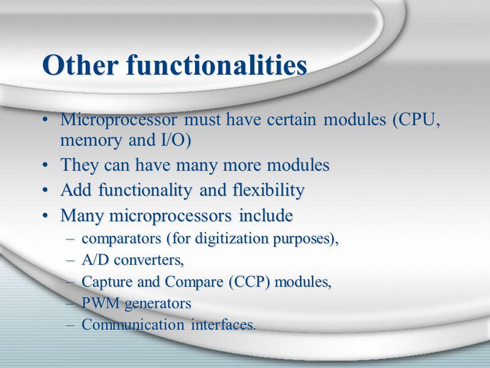 Other functionalities