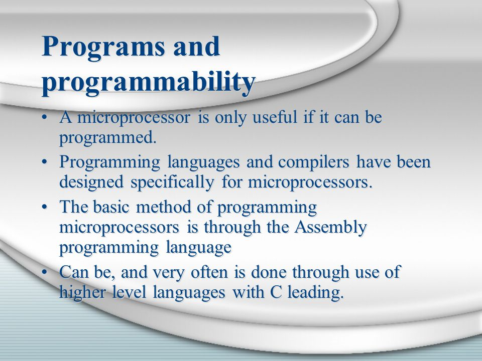 Programs and programmability