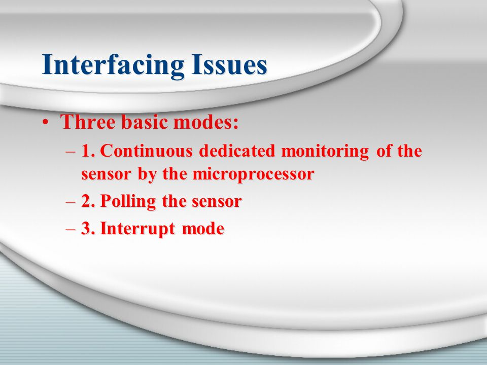 Interfacing Issues Three basic modes: