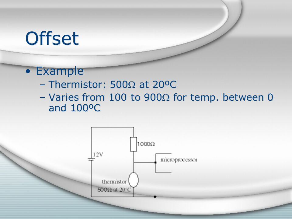 Offset Example Thermistor: 500 at 20ºC