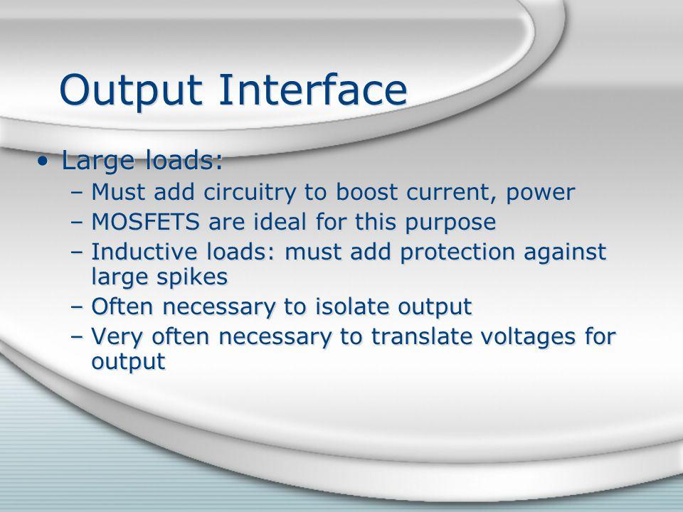 Output Interface Large loads: