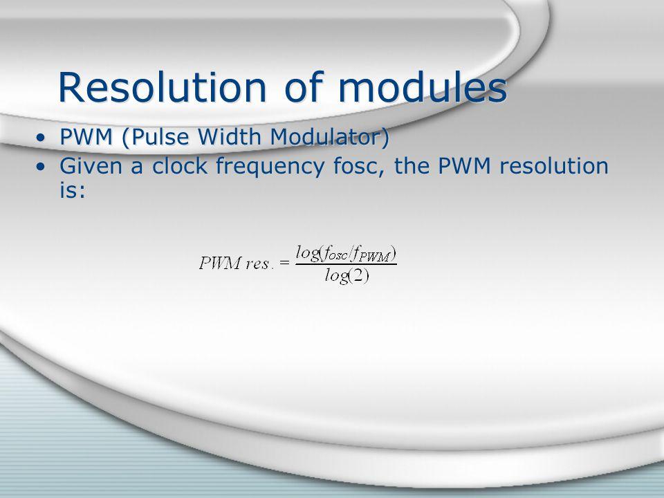 Resolution of modules PWM (Pulse Width Modulator)