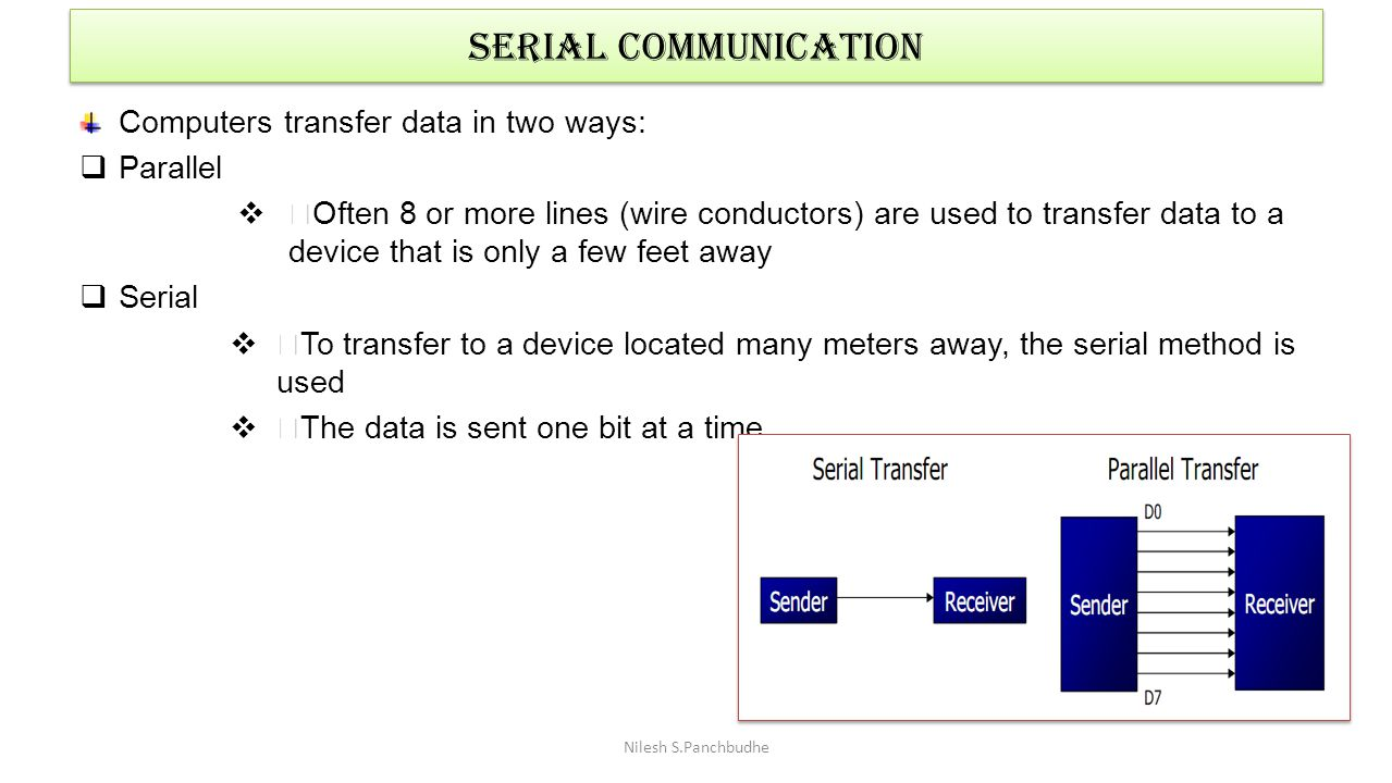 SERIAL COMMUNICATION Computers transfer data in two ways: Parallel