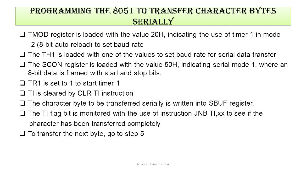 programming the 8051 to transfer character bytes serially