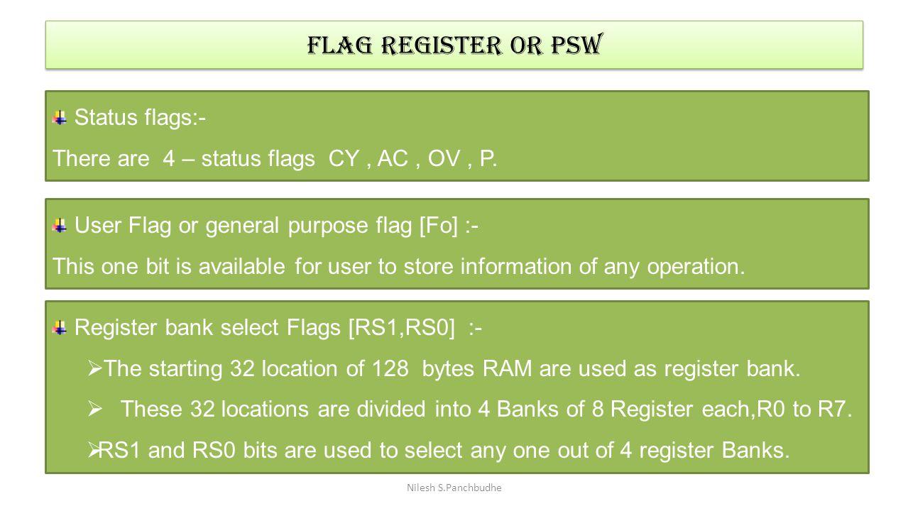 FLAG REGISTER OR PSW Status flags:-