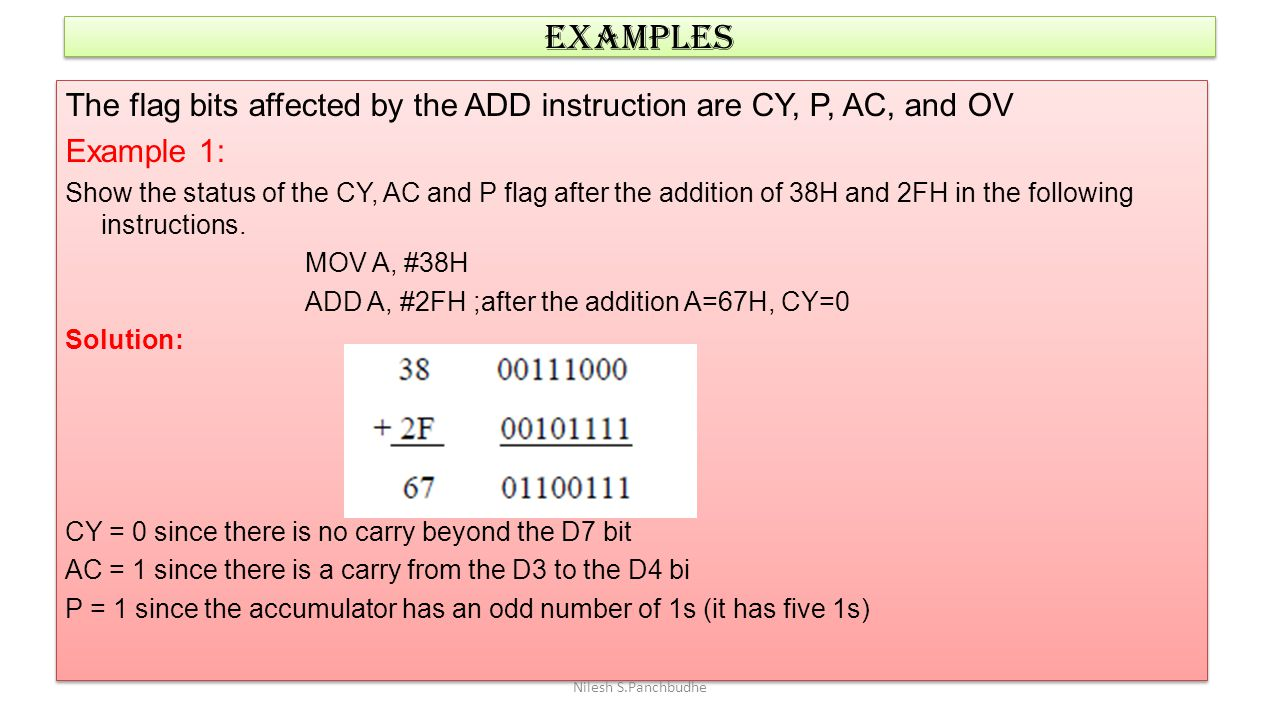 EXAMPLES The flag bits affected by the ADD instruction are CY, P, AC, and OV. Example 1: