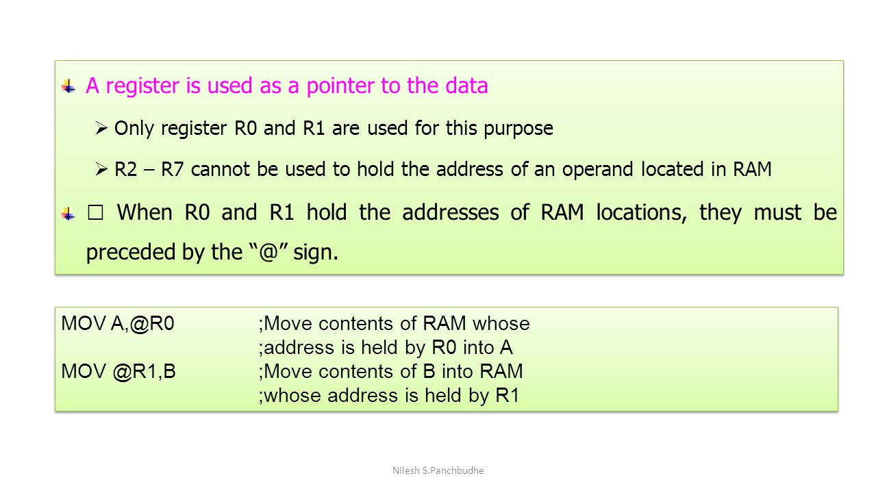 A register is used as a pointer to the data