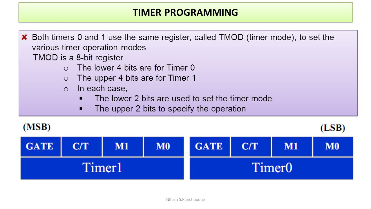 TIMER PROGRAMMING Both timers 0 and 1 use the same register, called TMOD (timer mode), to set the various timer operation modes.